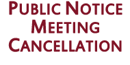 Public Notice Meeting Cancellation